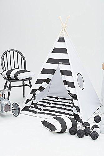 erdbeerwoody Spielzelt mit Bodenspielmatte und Kissen- Gestreiftes Tippi Indianerzelt Spielhaus Zelt Set-100% Baumwolle + Birkenholz, Schwarz