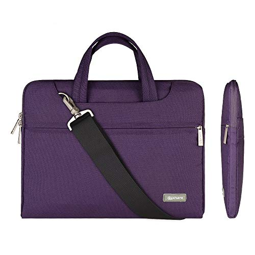 Qishare 11.6-12 Inch Laptop Bag Multi-functional Polyester Fabric Laptop Case,Adjustable shoulder strap&Suppressible Handle,Portable Sleeve Briefcase(11.6-12'', Purple)