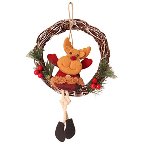 Tomaibaby Grapevine Wreath Merry Christmas Wreath with Reindeer Front Door Wreaths for Home Kitchen Wall Window Hall Decorations