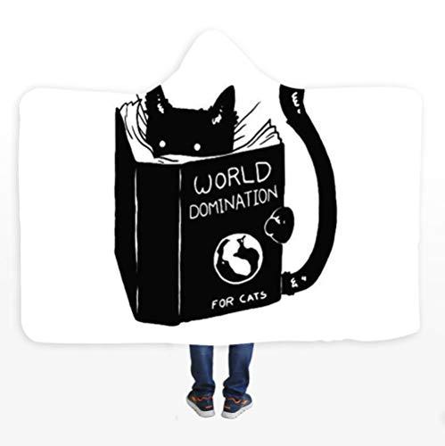 PANDAWDD knuffeldeken woondeken liefde het om te leren dieren zwarte katten tv-deken met capuchon voor volwassenen mannen 3D grappig draagbare deken fleece deken 150 x 200 cm