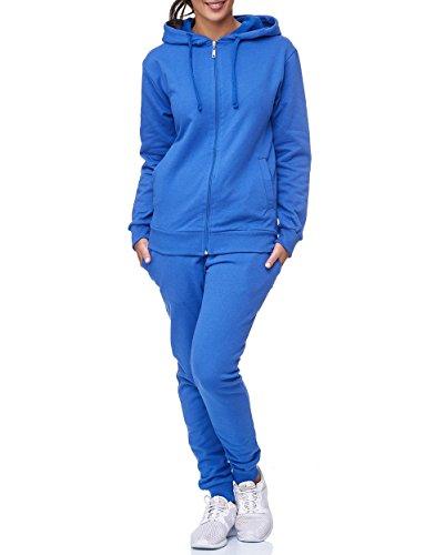 Uni Colour Damen Jogging Anzug Jacke Sport Hose Fitness Hoodie Hose Einfarbig Jogginganzug Sportanzug Fitnessanzug Trainingsanzug Gym Training Basic Design (3XL, Blau)