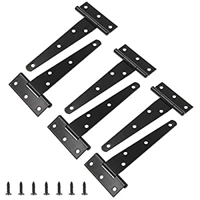 Zorfeter 4 inch T-Strap Hinge Gate Strap Hinge Barn Door Hinges for Wooden Fences, Black Decorative Classic Hinges with Screws, Pack of 6