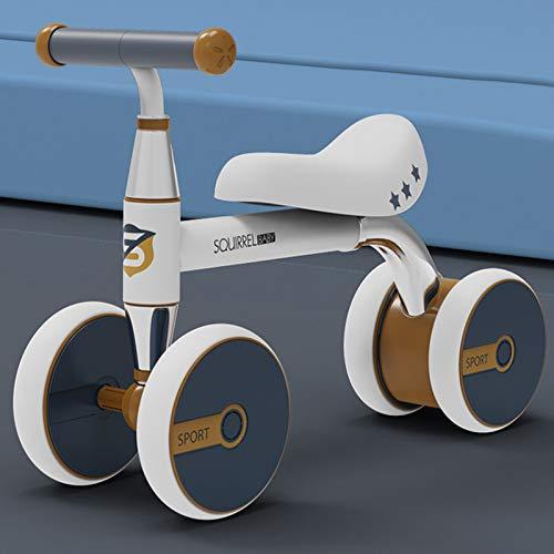 DDXY-Bicicleta Sin Pedales Baby Balance Bike Bici Deslizante 4 Ruedas,Montar en Bicicleta Equilibrio,Trike Toddler Walker 1-3 Años,Blanco