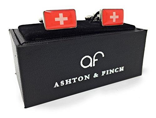 Ashton and Finch Schweizer Flagge Manschettenknöpfe. Neuheit. Schweiz. Sport.