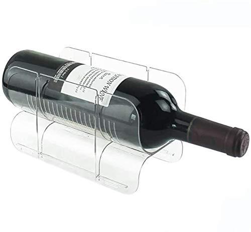 TUHFG Botellero rústico apilable, Titular de la Botella apilable Vertical Permanente Vino Soporte del Organizador del almacenaje de la Cocina encimeras, despensa, Nevera Rack admite 1 Contenedores