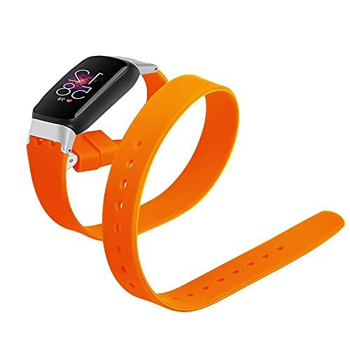 KangPlus Pulseras de cuero compatibles con Fitbit Luxe, correas de repuesto de cuero de doble círculo, pulseras deportivas ajustables y duraderas para mujeres y niñas, color naranja