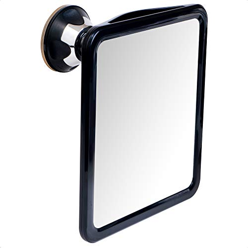 """Fogless Shower Mirror for Shaving with Upgraded Suction, Dual Anti Fog Design, Shatterproof Surface & 360° Swivel, 8"""" x 7"""""""