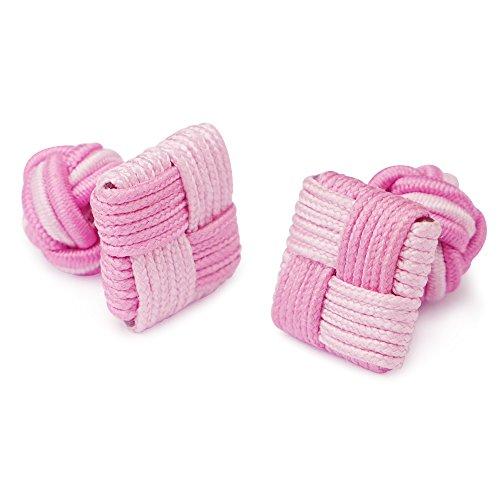 Honey Bear 1 Paar Herren/Damen Seide Stoff Knoten Seidenknoten Platz Manschettenknöpfe für Hemd /Kleid zum (Rosa)