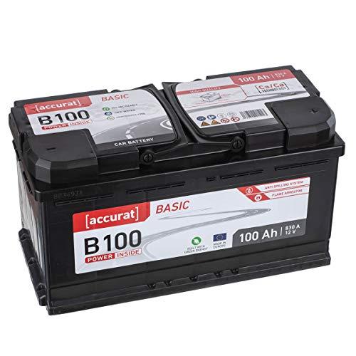 Accurat Autobatterie Starterbatterie B100 Basic 100Ah 12V 830A-Kaltstartstrom Blei-Säure Ca-Technologie Nassbatterie für PKW/Transporter wartungsfrei