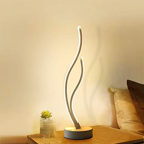 AUA Lámpara de escritorio LED, lámpara de mesa curva moderna 20W, lámpara de noche de lectura nocturna 3000K para dormitorio, estudio