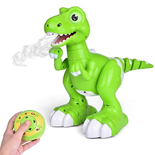 FunLittleToy Remote Control Dinosaur Toy, Electronic Dinosaur for Kids, with Glowing Eyes, Walking, Dancing, Turning Around and Spraying Mist, Robot Dinosaur for Boys and Girls