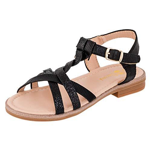 Modische Mädchen Sandalen Sandaletten Kinder Schuhe in Glitzeroptik M545sw Schwarz 32 EU