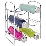 mDesign Práctica estantería para botellas – Botelleros para vino y otras bebidas para guardar hasta 6 unidades – Vinoteca de metal de pie para todo tipo de botellas – plateado