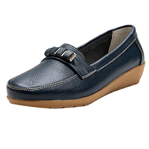 Day.LIN Damen Beiläufige Vintage Comfort Schuhe Einfarbig Flach Strand Schuhes Erbsen Schuhe Umstandsschuhe Große Mutter Schuhe