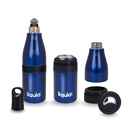 3 In 1 Insulated Stainless Steel Vacuum Sealed Beer 2 Go Bottle, Can and Water Cooler with Opener. Keep Standard and Skinny Aluminum Pop Tops or 12 Oz Glass Bottles Ice Cold For Hours Even In The Heat
