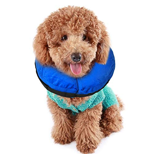 TANDD Protective Inflatable Collar for Dogs and Cats, Comfortable Pets Post Operative Collar to Prevent Pets from Touching Biting Scratching at Injuries Wounds Stitches - Size S