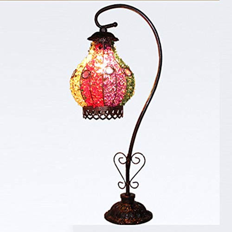 LJJY Glas tischlampe acryl 40 Watt handgefertigte perlen schmiedeeisen nachttischlampe Amerikanischen lndlichen hochzeitsgeschenk Hochzeit innendekoration tischlampe