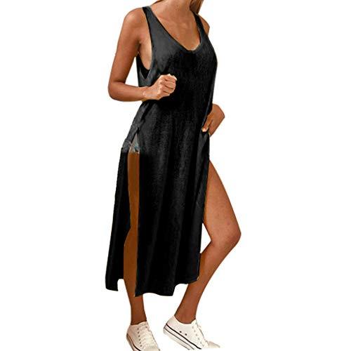 T-Shirtkleid für Damen/Dorical Frauen A-Linie Rundhals Midikleid Sommerkleid Ärmellos Longshirt mit Schlitz Tanktops Strandkleider Casual Loose Vestkleid Sportkleid(Schwarz,Small)