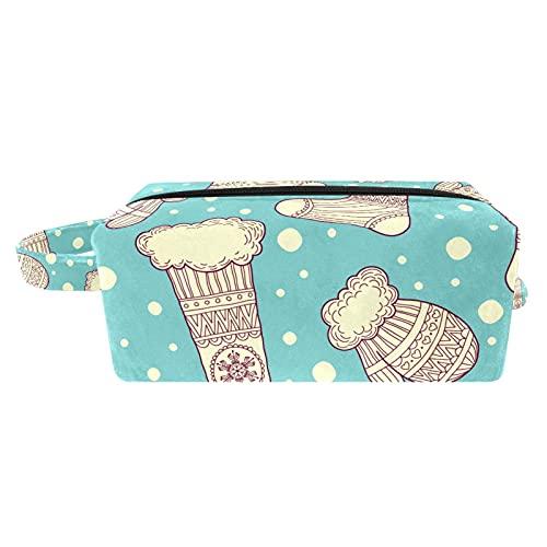 Bolsa de brochas de maquillaje para mujer, bolsa de aseo portátil, bolsa de cosméticos, organizador de viaje, manopla y calcetines de lana