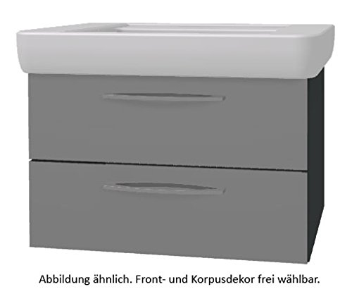 PELIPAL Solitaire 9005 Set K10-2L: Keramik Waschtisch Keramag Renova Nr.1 Plan, Weiß + Unterschrank
