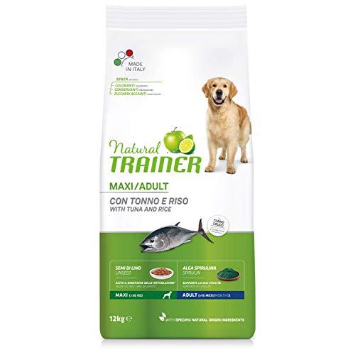 Natural Trainer - Cibo per cani adulti di grande taglia, Alimento Secco con Tonno e Riso, 12kg