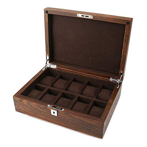 GYMEIJYG Caja De Almacenamiento De Reloj, 10 Ranuras Caja De Reloj De Madera Cierre De Metal Personalizar Regalo para Hombres Mujeres para Guardar Relojes (Color : Brown, Size : 30x21.5x10cm)