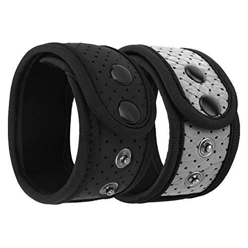 MoKo Schweißfest Knöchel Band Kompatibel mit Garmin/Fitbit, 2 Stück Einstellbar Strap Mesh Tasche für Fitbit Inspire/Inspire HR/Charge 2/Alta/Alta HR/Flex/Flex 2, Vivosmart HR/3/4 - Schwarz + Grau