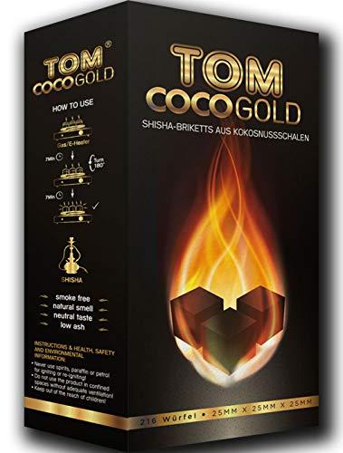 Tom Coco Gold 1KG Premium Kokosnuss Naturkohle für Shisha & BBQ