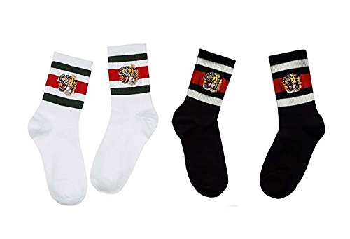 Sassy Pippi Unisex Streifensocken mit Tiger-Stickerei, Sportsocken (White (Green + Red) + Black 2er Pack)