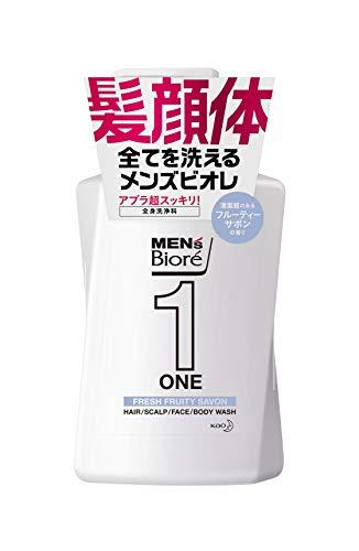 メンズビオレONEオールインワン全身洗浄料フルーティーサボンの香りポンプ480ml