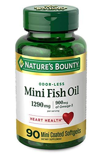 Nature's Bounty Mini Fish Oil, 1290 mg, 900 mg of Omega-3, 90 Mini Coated Softgels, Unflavored
