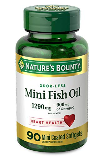 Nature's Bounty Mini Fish Oil, 1290mg, 900mg of Omega-3, 90 Mini Coated Softgels