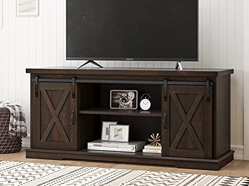 """SHA CERLIN 58"""" Farmhouse TV Stand with Sliding Barn Door & Adjustable Shelves for TVs Up to 65', Wood Storage TV Cabinet for Living Room, Entertainment Center, Rustic Dark Brown"""