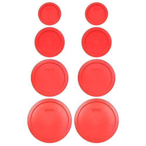Pyrex (2) 7202-PC 1 Cup (2) 7200-PC 2 Cup (2) 7201-PC 4 Cup (2) 7402-PC 6/7 Cup Red Round Plastic Food Storage Lids