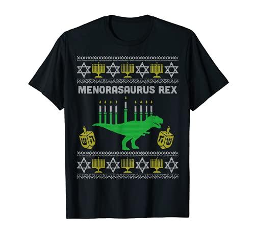 Menorasaurus Rex Shirt Kids Hanukkah, Jewish Chanukah Gift T-Shirt
