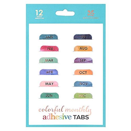 Erin Condren Designer Accessories - Monthly Adhesive Tabs, Colorful (Set of 12)