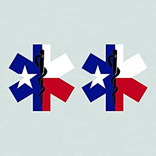 Two Pack Texas State Shaped EMT Flag Sticker FA Graphix Vinyl Decal Die Cut EMS Paramedic TX