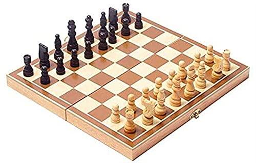 RENFEIYUAN Juego de ajedrez de Madera Juego de ajedrez Plegable de Madera Juego de Mesa para niños Adultos niños con Almacenamiento Interior Plegable portátil 30 x 30 cm ajedrez Damas