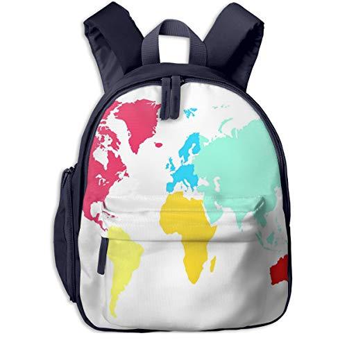 Sac à Dos pour Enfant Maternelle Carte du Monde Continent Sacs D'école Bandoulière Réglable Unisexe Garçon Et Fille Cartable pour Quotidien Et Voyage