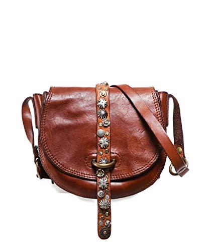 Campomaggi Damen kleine genoppte Lederschultertasche Einheitsgröße Braun