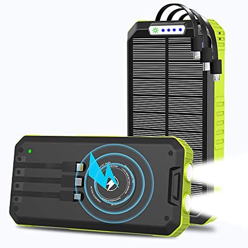 Solar Charger, 30000mAh Solar Power Bank, Qi Wireless Portable Charger Dual Outputs USB C Quick Charge with External 3 Cables, LED Flashlight, for iPhone, Android, Tablet and Outdoor Camping