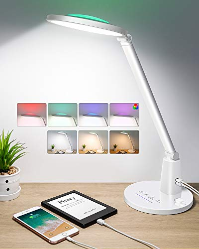 WENFENG LED Desk Lamp, 24W,700LM Eye-Caring Table Lamp, Dimmable Office Lamp with 5V/2A USB Ports, 3 Color Modes, Adjustable Brightness, Touch Control, Timer, Night Light Metal&Glass Made, White