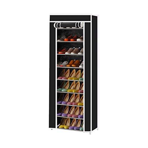Bvyruuv Zapatero de 10 niveles, montaje rápido, no requiere herramientas, a prueba de polvo con funda de tela no tejida, puede contener 27 pares de zapatos (60 cm x 30 cm x 160 cm)