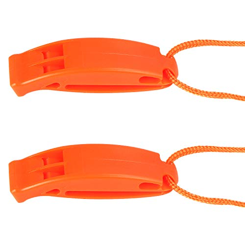 AUGSUN 2 Pack Emergency Safety Whistle Plastic Whistles with Lanyard and Clip for Boating Camping Hiking Hunting Survival Rescue Signaling