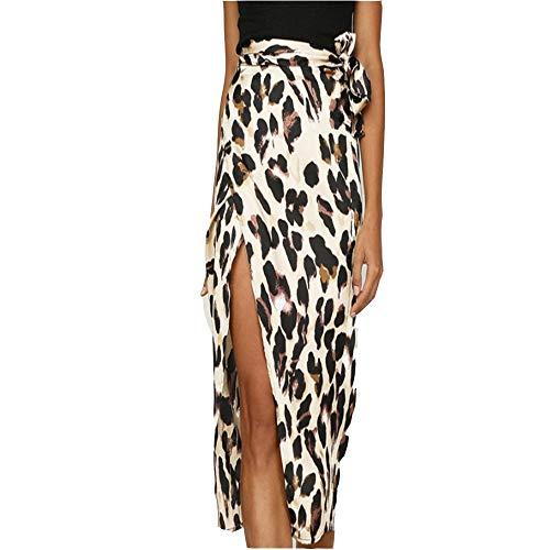 Womens rokken jurk Klassieke Dames rok Leopard gedrukte patroon hoge taille Split Knotted Taille Rok voor Casual Party (Color : Leopard Printed B, Size : L)