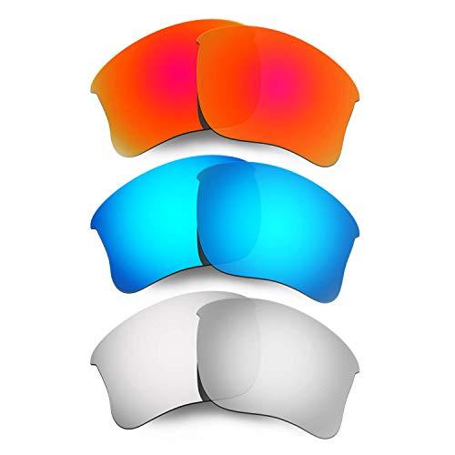 HKUCO Plus Mens Replacement Lenses For Oakley Flak Jacket XLJ Sunglasses Red/Blue/Titanium Polarized