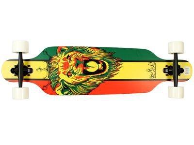 Krown Longboard Komplettboard Skateboard Rasta Lion Drop Through - Longboard Complete - 36 x 9.25 inch mit Koston Kugellagern