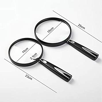 Zichen 4x//3x Handheld Magnifier,4x//3x Hd Magnifying Glass 110mm//130mm Large Lens with Gift Box for Elderly /& Students Reading Small Prints Map Study Inspection Jewelry Loupe 2 Size Color : L