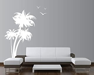 Innovative Stencils 1132 84 mwhite Palm Coconut Tree Nursery Wall Decal with Seagull Birds, White