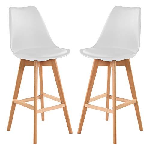 Walkchic Juego de 2 taburetes de bar de piel sintética con respaldos, encimera, sillas de bar, patas de madera para taburetes de cocina, taburete, sillas de pub, mostrador, diseño ergonómico (blanco)
